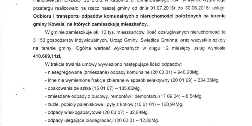 Gmina Kowala – odbiór odpadów komunalnych